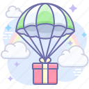 delivery, gift, parachute