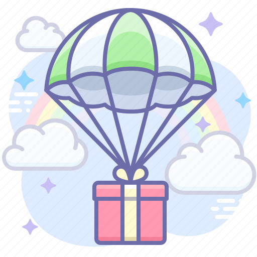 Delivery, gift, parachute icon