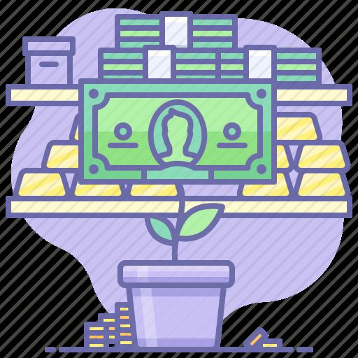 Plant, business, money icon