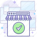 browser, check, done, online, responsive, shop, store icon