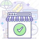 browser, check, done, online, shop, shopping, store icon