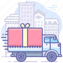 car, city, delivery, fast, gift, transport, truck icon