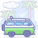 hippy, travel, van icon