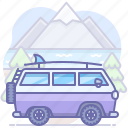 camping, travel, van icon