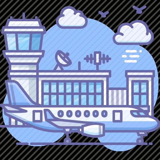 airport, plane, travel icon
