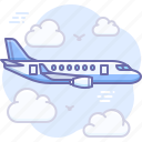 airplane, clouds, flight, fly, transport icon