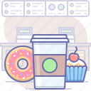 cafe, coffee, cupcake, donut, fast, food, restaurant icon
