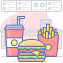 burger, fast, food, french, fries, restaurant, soda icon