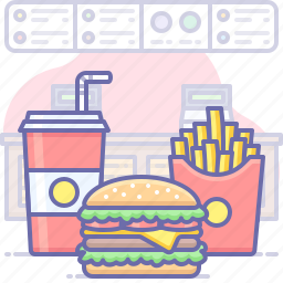 burger, food, french fries
