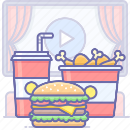 burger, chicken, fast, food, movie, soda, theater, wings icon