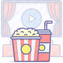 cinema, food, movie, popcorn, soda, theater, watch icon