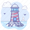 building, coast, house, lighthouse, ocean, sea, tower icon