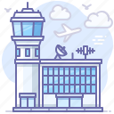 airport, building, control, flight, radar, tower icon