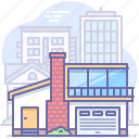 building, city, estate, home, house, modern, real icon