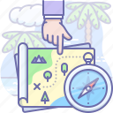 adventure, map, treasure icon