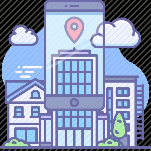 City, phone, ar icon