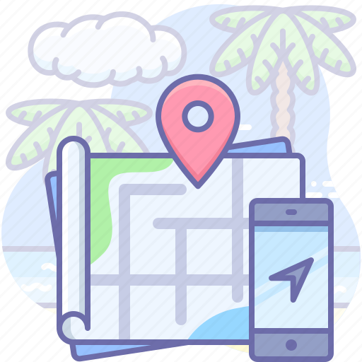map, mobile, travel icon