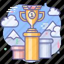 cup, pedestal, rewarding, winner icon