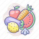 food, fruits, vegetables, vitamins icon