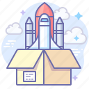 install, open, rocket, startup icon