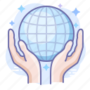 care, globe, hands, internet icon