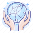 care, hands, internet, network icon