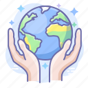 care, earth, globe, hands icon