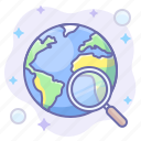 globe, lense, search, world icon