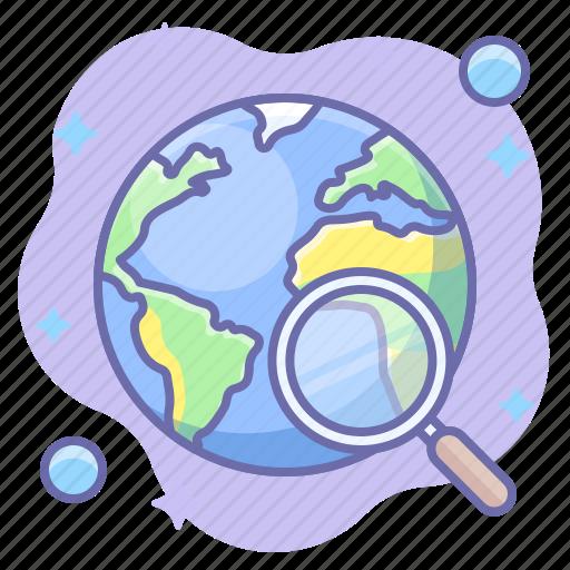 globe, lense, search, world icon