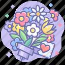 bouquet, flowers, love, present icon