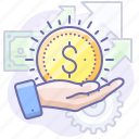 business, hand, money, seo icon