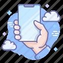 hand, hold, mockup, smartphone icon