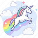 magic, rainbow, sky, unicorn icon