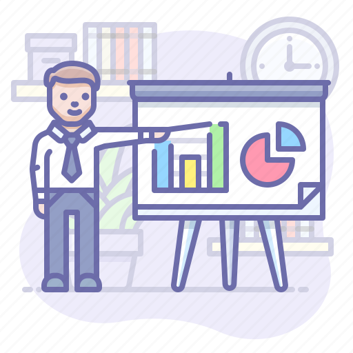 Presentation, business, man icon