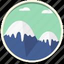 clouds, mount, mountain, peak, sky, snow, tourism icon