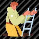 character, builder, ladder, down, downwards, climb, up, upwards, increase, decrease