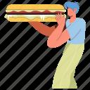 character, builder, food, bread, sandwich, meal, snack, truck, break, lunch