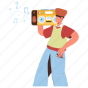 character, builder, music, entertainment, boombox, player, playlist, streaming