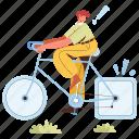 character, builder, transportation, bike, bicycle, transport, flat, tire, error, malfunction