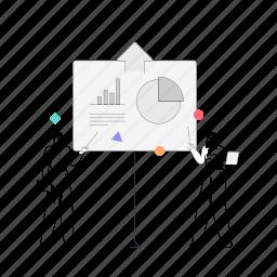 business, man, woman, presentation, graph, chart, analytics, statistics, arrow