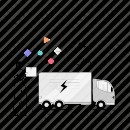 delivery, man, truck, vehicle, transport, transportation, logistic, ecommerce, commerce