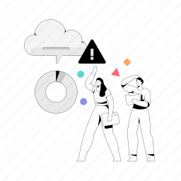 error, storage, man, woman, transfer, cloud, file, folder, notification, loading