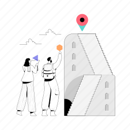 location, achievements, man, woman, stairs, marker, pin, destination, target, travel