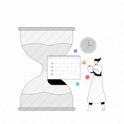 workflow, woman, schedule, date, deadline, clock, time, hourglass, appointment, calendar