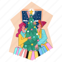 christmas, tree, celebration, holiday, presents