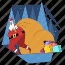 santa, bag, presents, gifts, christmas