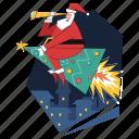 tree, rocket, christmas, santa, travel