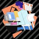 workspace, work, computer, man, desk