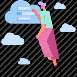 man, search, cloud, storage
