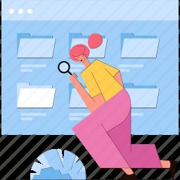 search, files, folder, woman, scan